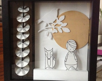 Little girl and a fox Shadow box