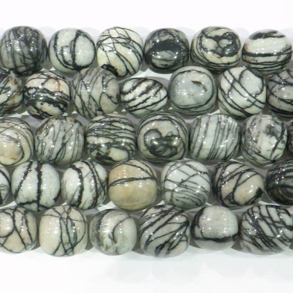 12-13mm Round Nugget Black Line Jasper Beads Genuine Natural
