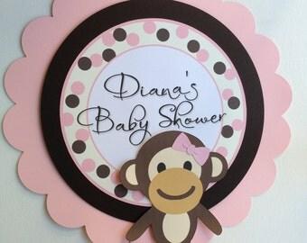 Monkey Baby Girl Shower Sign