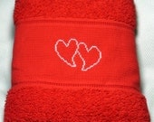 Towel Hearts Love Wedding Engagement Cross Stitch handembroidered