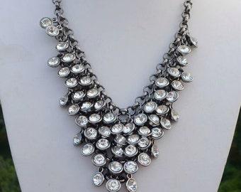 CLEARANCE! WAS 49.00! W. Silver Tone Swarovski Crystal Statement Necklace