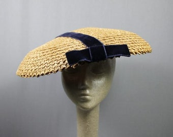 SALE(was 165.00 now 125.00)Thirties maybe Forties Straw Widebrim Hat