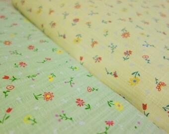 SALE - Yellow floral cotton linen fabric (half yard)