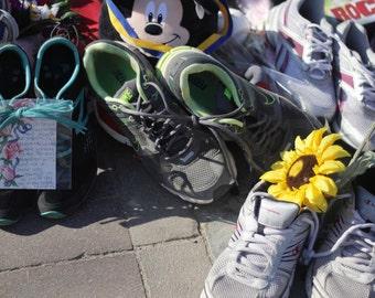 Photo Print - Boston Marathon Memorial, Turquoise, Green,Yellow Sneakers and Yellow Sunflower, Boston, MA