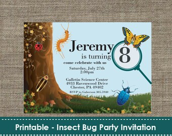 Insect Bug Party Invitation - DIY - Printable