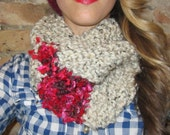Hand Knit Oatmeal and Pink Sparkle Lipstick Infinity Circle Neck Scarf