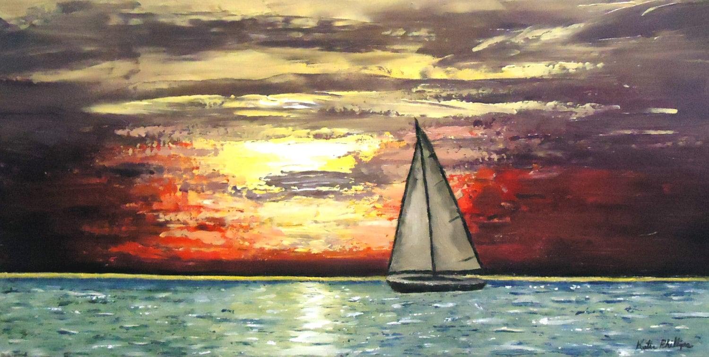 Sailboat Painting Sunset Sail Original