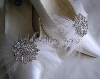 Wonderful Bridal Crystal & Feather Shoe Clips