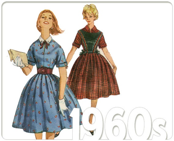 1960s Sewing Pattern Simplicity 3594: Juniors Belted Dress Pattern, Mid Century Fashion, Size 15 Bust 35, 1960 Uncut, Factory Folded, P-1132
