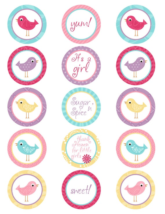 Printable Its A Girl Bird Spring Color Cupcake Toppers Instant ...