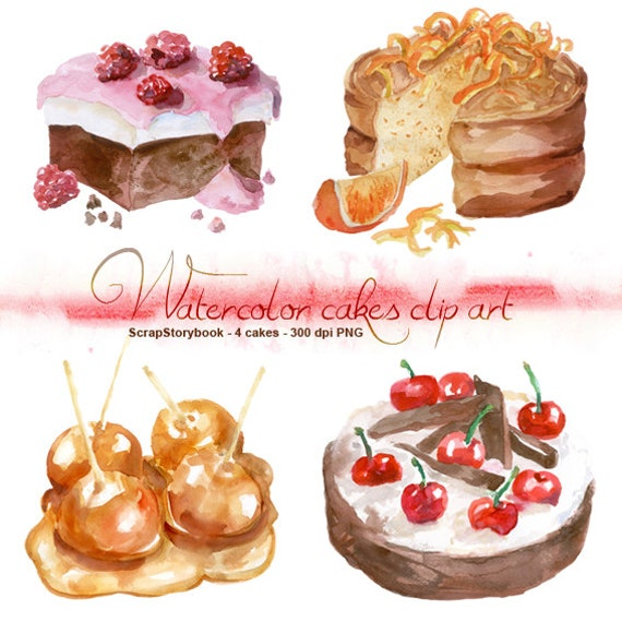 Watercolor Cake Clip Art : Watercolor Cakes Clip Art digital printable item raspberry