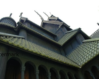 Architectural Detail of a Norse Stave Church 8x10 Photograph