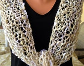 Womens Knitted Shawl or Knitted Scarf  in Beige Colors