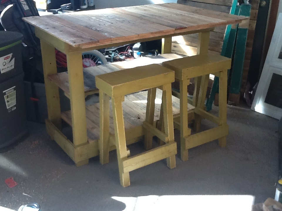 Bar stool made from pallet wood furniture very by sameasnever for Stools made from pallets