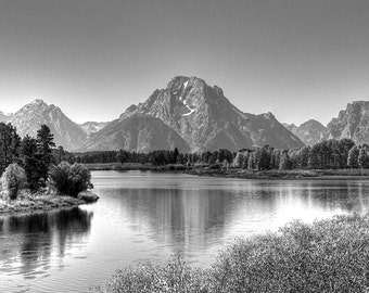 Oxbow bend Jackson Hole, Wyoming Grand Teton National Park mountains black and white 10x20