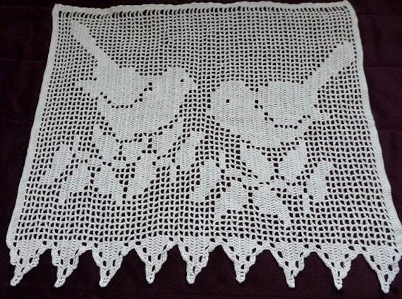 cotton Crocheted Window curtain birds pattern bird handmade crochet ...