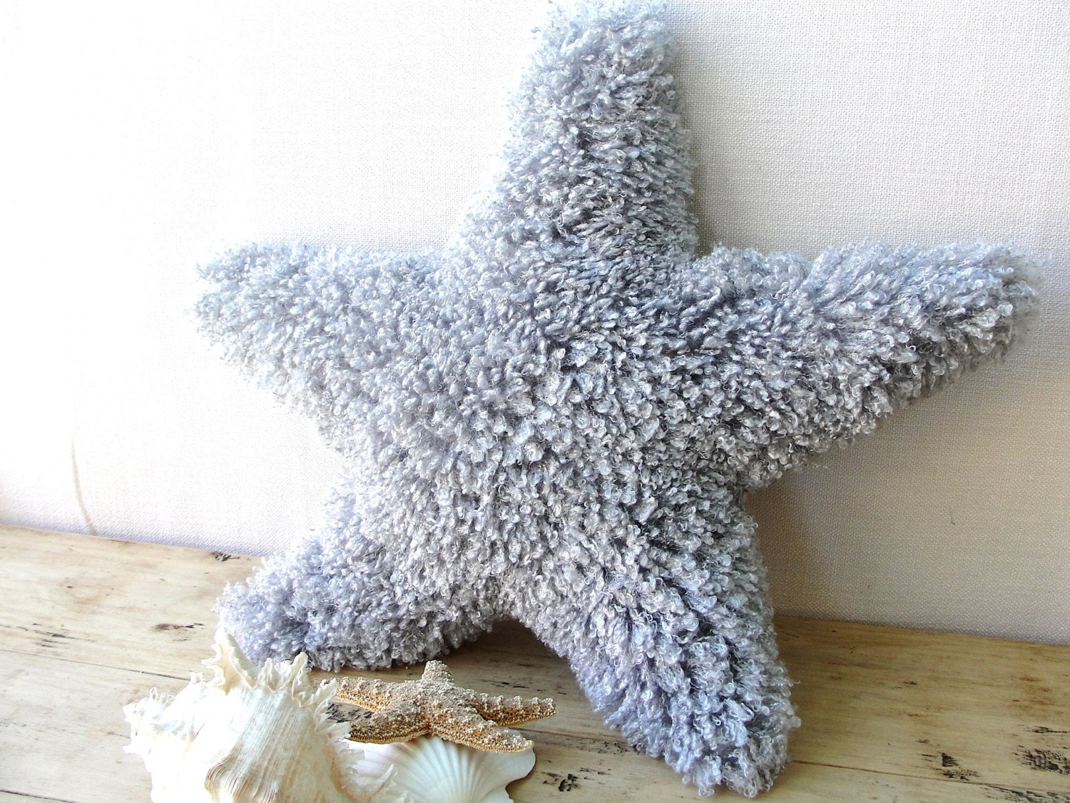 Fluffy Grey Starfish Accent Pillow Big And Soft Faux Fur
