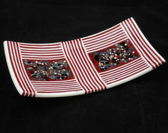 Red Stripes - Fused Glass Sushi Platter