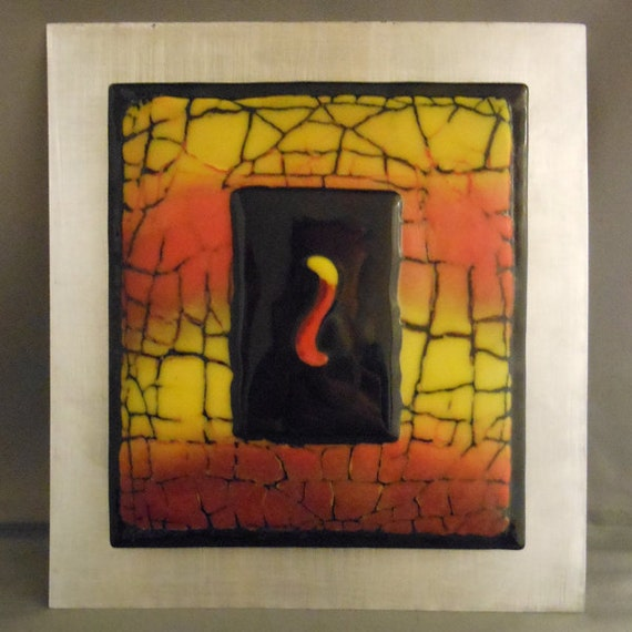 Fused Glass Wall Art: Flame Fused Glass Wall Art
