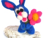 OOAK Needle Felted Bunny with Flower by Vanessa Turnubull - Blue, Pink, White, Yellow, Adorable, Handmade