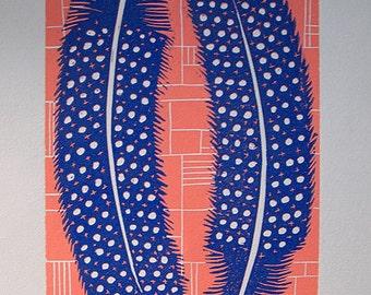 Guinea Fowl Feathers Lino Print Lino Cut.