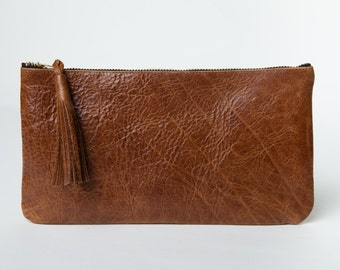 Leather Clutch,Purse,Wallet,Pouch,Chestnut