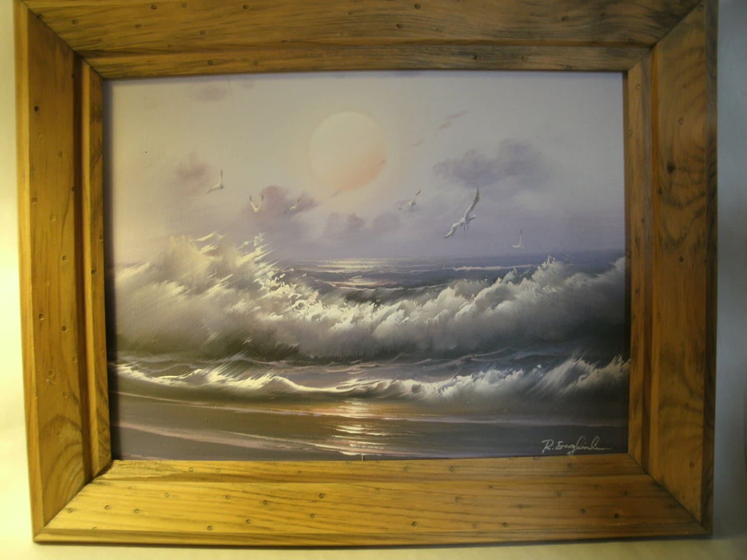 Seascape Oil Painting Of Ocean Waves Birds Framed Signed By R