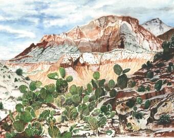Desert Southwest Zion's Landscape Painting, Print from Original Watercolor Painting, Snow Cactus 10.5x15 Decor