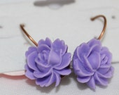 Beautiful Purple Resin rose earring  on a leverback earwire 12mm x16mm