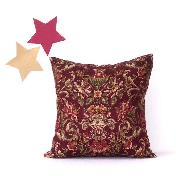 Decorative Maroon Floral Pillow Cover 18 x 18