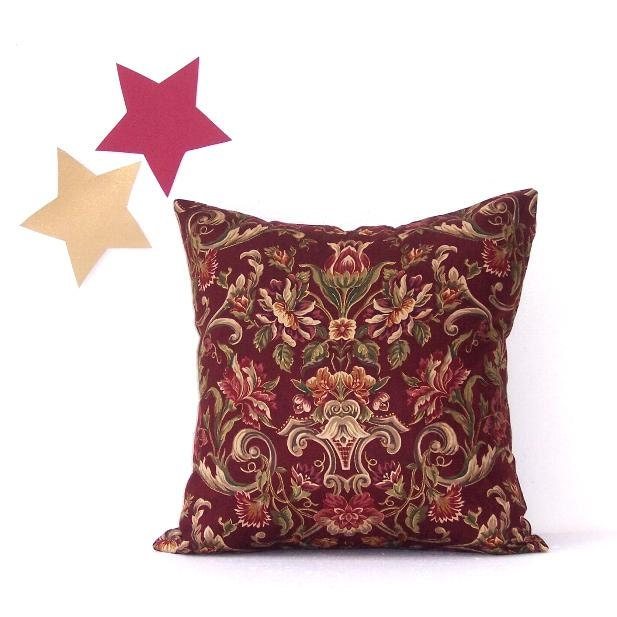 Decorative Pillows Maroon : Decorative Maroon Floral Pillow Cover 18 x 18