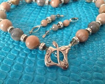 Moonstone Necklace Earrings Set,  OOAK, Warm Peach and Subtle Gray, Faceted, Sterling Toggle, Gifts For Her, Under 50, Birthday Gift