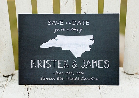 Chalkboard Save the Date, rustic Save the Date postcard - The Kristen - save the date, rustic wedding, postcard, state, chalkboard, unique