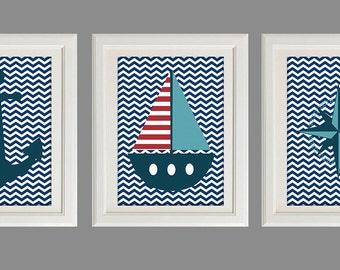 "Nursey Decor, Nautical Nursery  Art, Chevron Nursery, Sea Life Nursery Art Print, Set of Three 11X14"" Prints, Nautical Set"