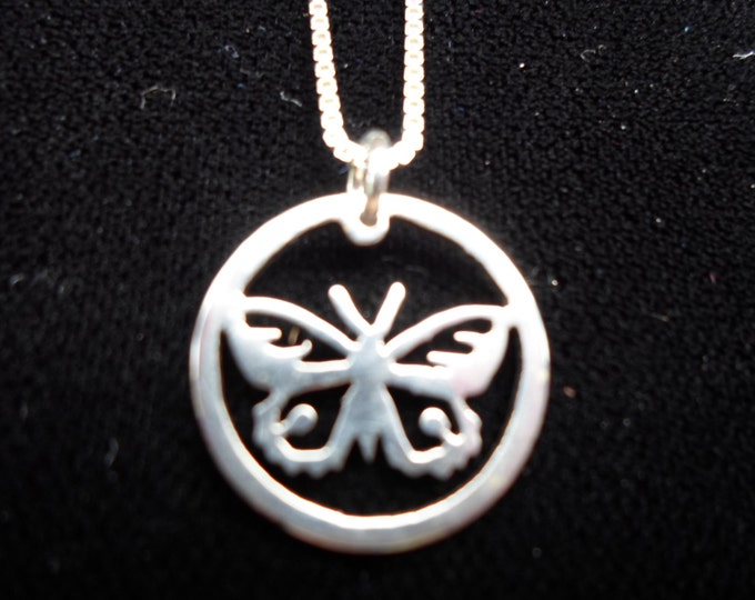 "Butterfly Necklace dime size w/ 18"" sterling silver chain"