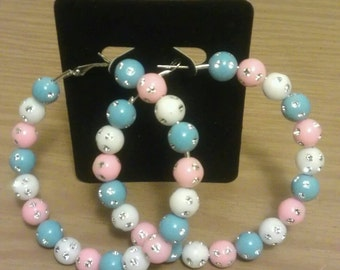 Basketball wives and love and hip hop inspired 70mm hoop with pastel studded beads