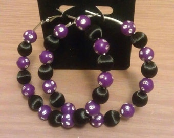 Basketball wives and love hip hop inspired 70mm hoop with purple and black beads