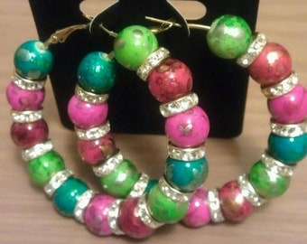 Basketball wives and  love and hip hop inspired 60mm hoop with multi-colored painted beads