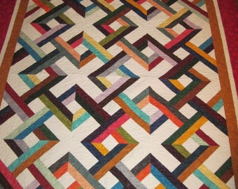 Multi color lap quilt, handmade, machine quilted