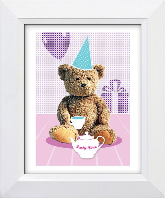 Nursery art print Teddy Bear party, A4, wall art for children, kids room decor, bear illustration