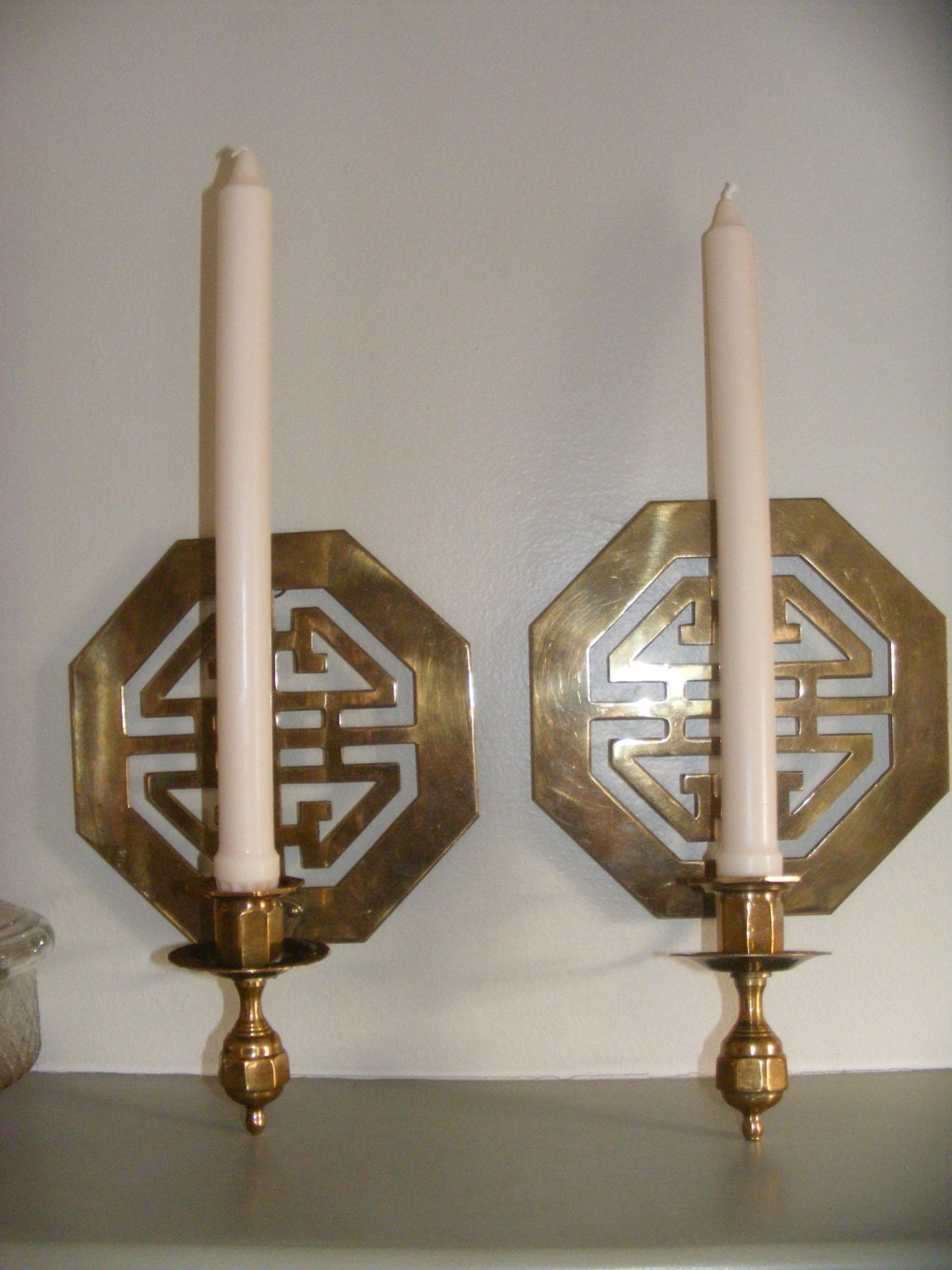 Beautiful Asian Solid Brass Wall Sconce Candle Holders