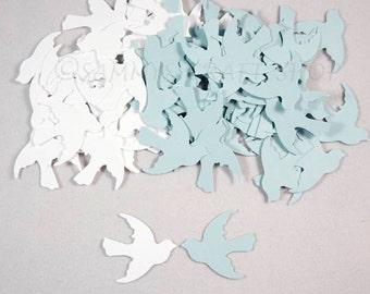 Wedding Confetti, 100 count paper birds confetti, Die Cut Birds, Bridal Shower,Scrapbook Embellishment, White Dove, Blue Dove