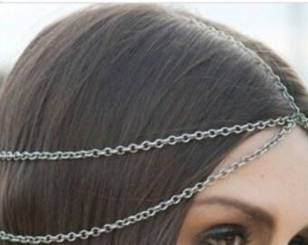 Five  Strand Silver Chain Head Piece Hair Headband Chain