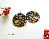 Big Earrings - Flower Earrings -Large Blue Earrings - Print Earrings - Boho Flowers - Chic Earrings - Round Earrings