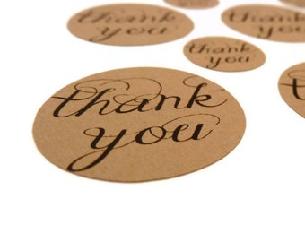 Kraft Stickers - Thank You Stickers - 35 Count - Kraft Labels - 1.25 in - Product Sticker - Wedding Favor Sticker