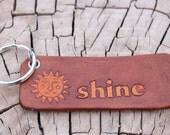 Shine- leather keychain, tag