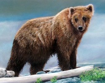 Giclee print of a Grizzly Bear on a rivers edge