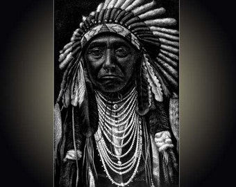 """Lithograph print """"Chief Joseph"""" A pen and ink on scratchboard drawing of American Indian Chief Joseph"""