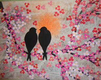 """ORIGINAL  Abstract Landscape Painting Acrylic Tree Branches Wall Decor """"Love Birds on a Blooming Brunches"""""""