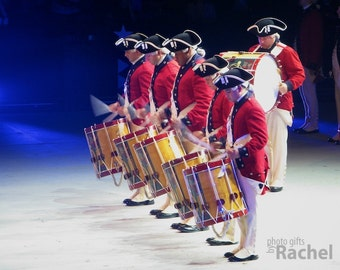 Drum and Fife Corps. Photo of the Drum and Fife Corps of the Army Band. Military, America, patriotic, music, red, blue, white. Gallery wrap